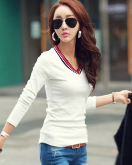 Long Sleeve Patchwork V Neck Slim Fit T Shirt