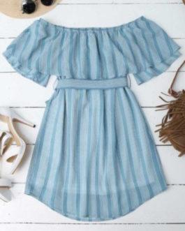 Multi Stripe Off The Shoulder Dress