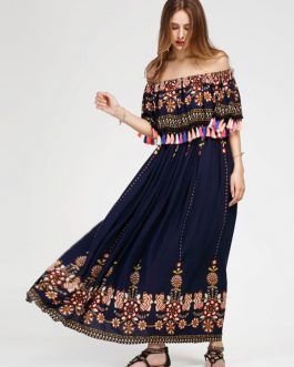 Off Shoulder Boho Maxi Summer Ruffle Long Dresses