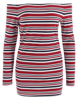 Off Shoulder Stripes Mini Dress