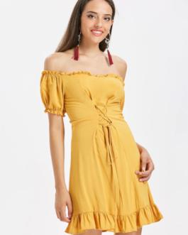 Off The Shoulder Lace Up Dress