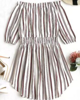 Off The Shoulder Striped Dress – Stripe S