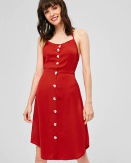 Open Back Button Up Halter Dress