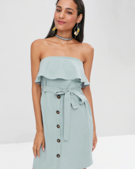 Overlay Buttoned Strapless Dress