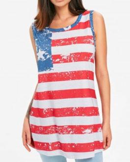 Patriotic American Flag High Low Tank Top