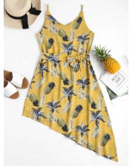 Pineapple Palm Asymmetrical Dresses
