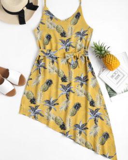Pineapple Palm Asymmetrical Summer Dress