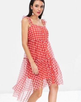 Plaid Button Up Gauze Dress