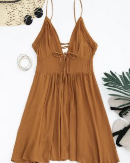 Plunge Low Back Lace Up Sundress Dresses