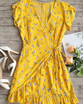 Plunging Neck Floral Ruffles Dress