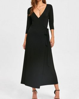 Plunging Neck Mid-calf Wrap Dresses