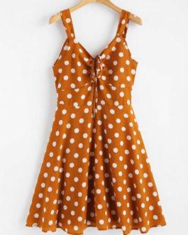 Polka Dot Back Knot Cinched Dresses