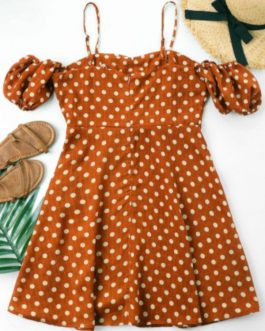 Polka Dot Lace Up Dress