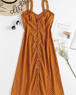 Polka Dot Midi A Line Sun Dresses