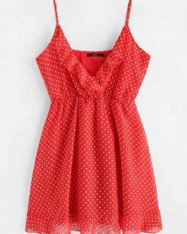 Polka Dot Mini Chiffon Slip Dresses