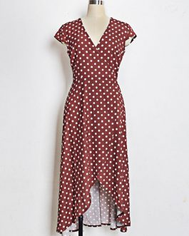 Polka Dot Wrap Split Cap Sleeve Maxi Dresses