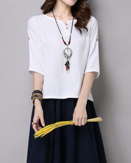 Pure Color Button 34 Sleeve Split Hem T-shirt
