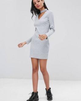 Ribbed Long Sleeve Bodycon Choker Dress