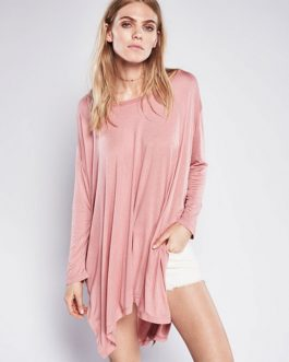 Round Neck High Low Split T – Shirt