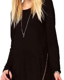 Round Neck Long Sleeve Zipper T Shirt