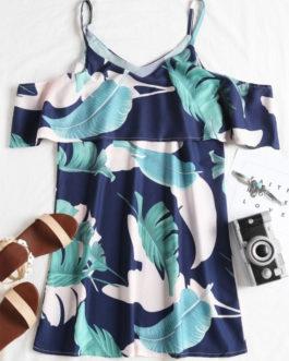 Ruffle Tropical Cold Shoulder Mini Dresses