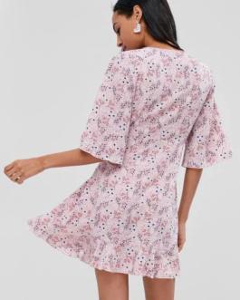 Ruffles Overlap Floral Dress