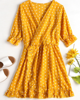 Ruffle Polka Dot Mini Faux Wrap Dress