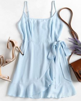 Ruffles Cami Overlap Dresses