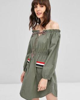 Ruffles Off Shoulder Pockets Dress