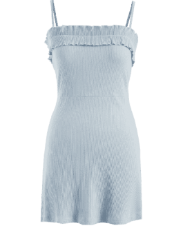 Ruffles Ribbed Cami Dress