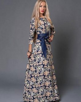 Sash Three Quarter Sleeve Maxi Dresses