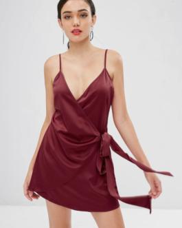 Satin Wrap Mini Dress
