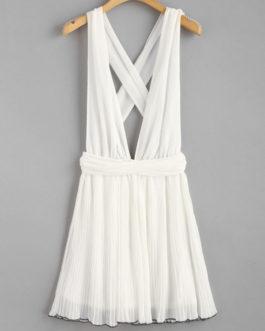 Self Tie Pleated Chiffon Plunge Dresses