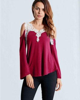Sexy Hollow Crochet Off Shoulder Solid T-Shirt