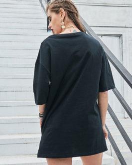 Short Dress Round Neck Shift T Shirt