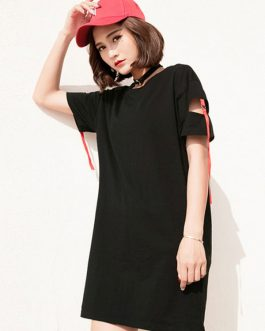Short Sleeve Strappy Cut Out T Shirt