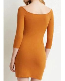Slash Neck Solid Color 3/4 Sleeve Dress