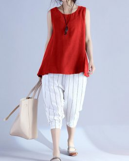 Sleeveless Cotton Solid Vest Tank Tops