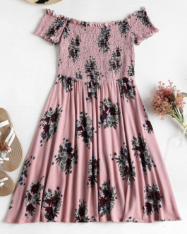 Smocked Floral Off Shoulder Dress
