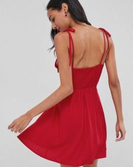 Smocked Tied Straps Mini Dress