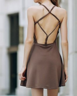 Solid Backless Scoop Neck Dresses