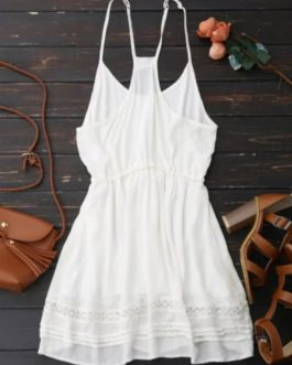 Spaghetti Straps Drawstring Waist Summer Dress – White S