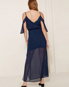 Split Sheer Cold Shoulder Sexy Slip Maxi Dresses