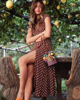 Split short sleeve maxi casual dress