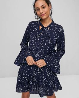 Star Print Bowtie Dress