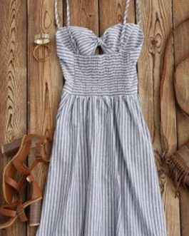 Striped Front Knot Cutout Cami Dresses