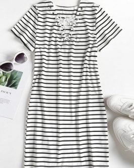 Striped Lace Up Tee
