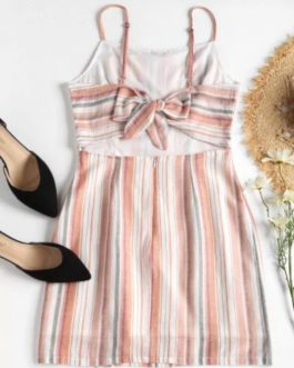 Striped Open Back Cami Dress – Light Pink S