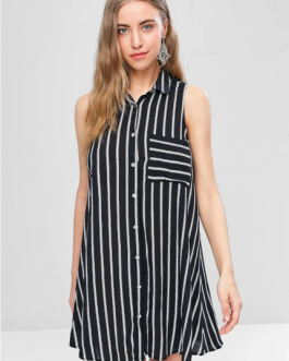Striped Sleeveless Mini Shirt Dress