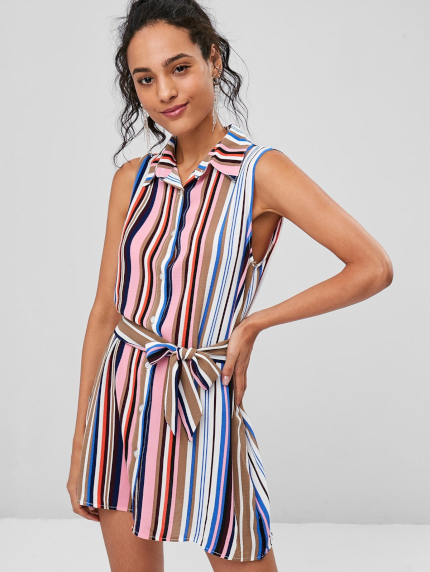90025a9a516 Striped Sleeveless Shirt Dress - Power Day Sale